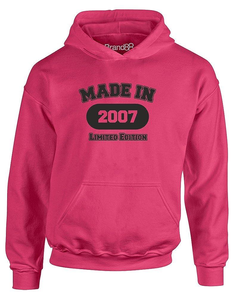 Made in 2007, Kids Hoodie-Hot Pink/Black