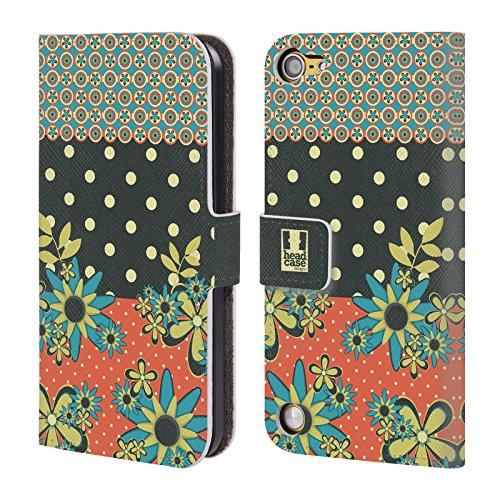 Head Case Designs Arancione Verde Punti Floreali Cover a portafoglio in pelle per iPod Touch 5th Gen / 6th Gen