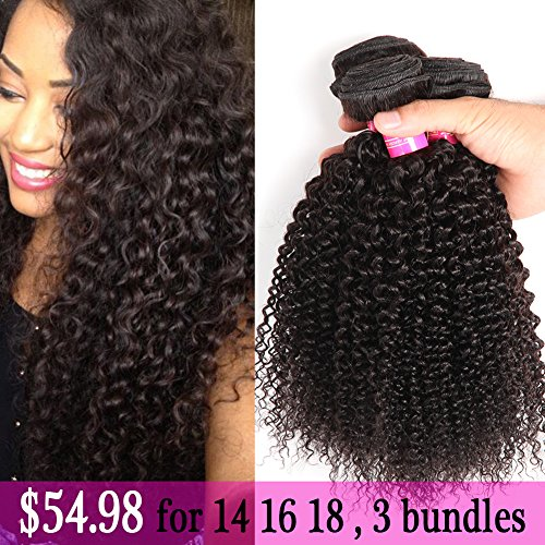 Brazilian Curly Hair 3 Bundles 14 16 18Inch ,Total:300g Virgin Human Hair Weave 7A Grade 100% Unprocessed Hair Weft Extensions Natural Color