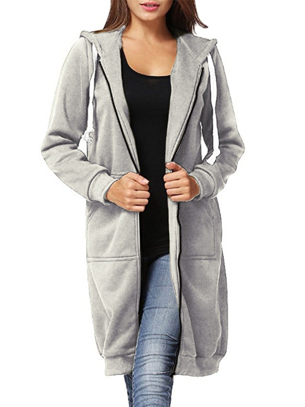 Dongpai Women's Casual Zip Up Hoodie Solid Long Jacket Sweatshirt Outerwear Plus Size