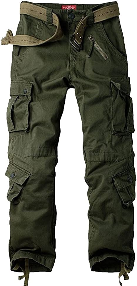 Mens Pants Cotton Military Cargo Pocket Casual Work Combat Trousers