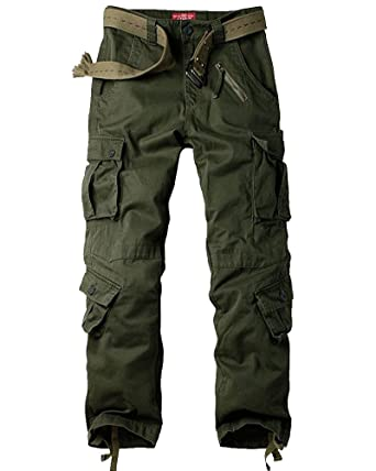 016795b8f5ad5 Jessie Kidden Men's Casual Military Cargo Pants, 8 Pockets Cotton Wild  Combat Tactical Trousers,