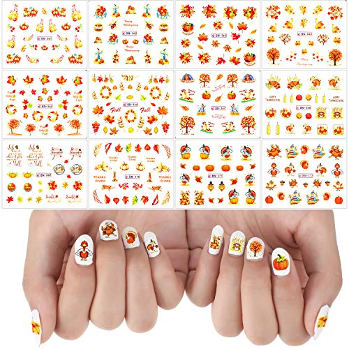 48 Sheets (1460 Pieces) Thanksgiving Nail Stickers leaf autumn Tattoo Decals Nail Art Sticker for Nail DIY Decoration