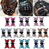 Elesa Miracle 20pcs Crystal Rhinestone Mini Butterfly Hair Claw Clip Baby Toddler Girl Hair Bangs Pin Kids Hair Accessories (Set B - 20pcs Multicolored)