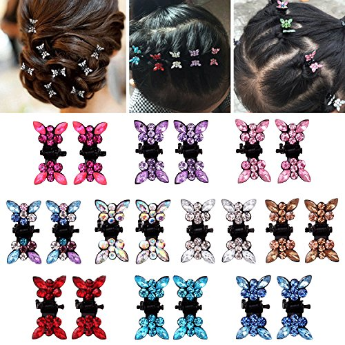 Elesa Miracle 20pcs Crystal Rhinestone Mini Butterfly Hair Claw Clip Baby Toddler Girl Hair Bangs Pin Kids Hair Accessories (Set B - 20pcs Multicolored) by Elesa Miracle