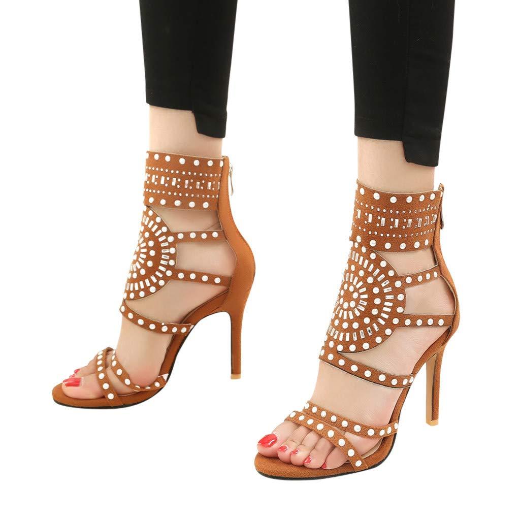 Orangeskycn Women High Heel Sandals Plus Size Fashion Rivet Back Zipper High Heel Open Toe Ankle Beach Shoes Sandals Brown by Orangeskycn Women Sandals (Image #3)