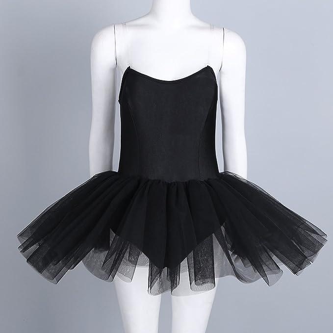 YiZYiF Maillot Ballet Mujer Negro con Falda Tutú Chica Maillot ...