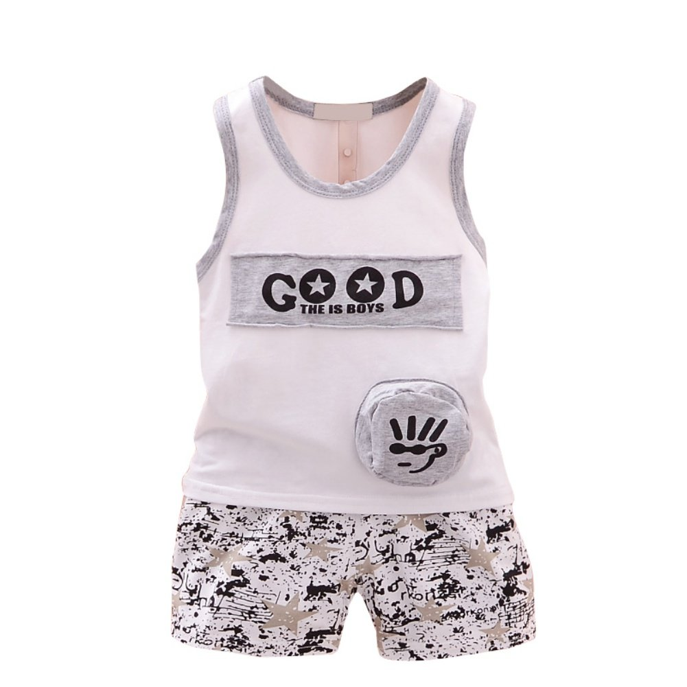 Loveble Summer Kids Boys Girls Letter Printed Sleeveless T-Shite Tops Shorts Pants Beach Style