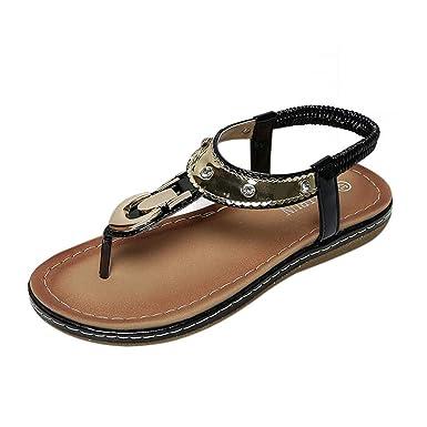 484d21f08 Duseedik Women s Summer Retro Sandals Simple Flip-Flops Flats Slippers Beach  Shoes Black