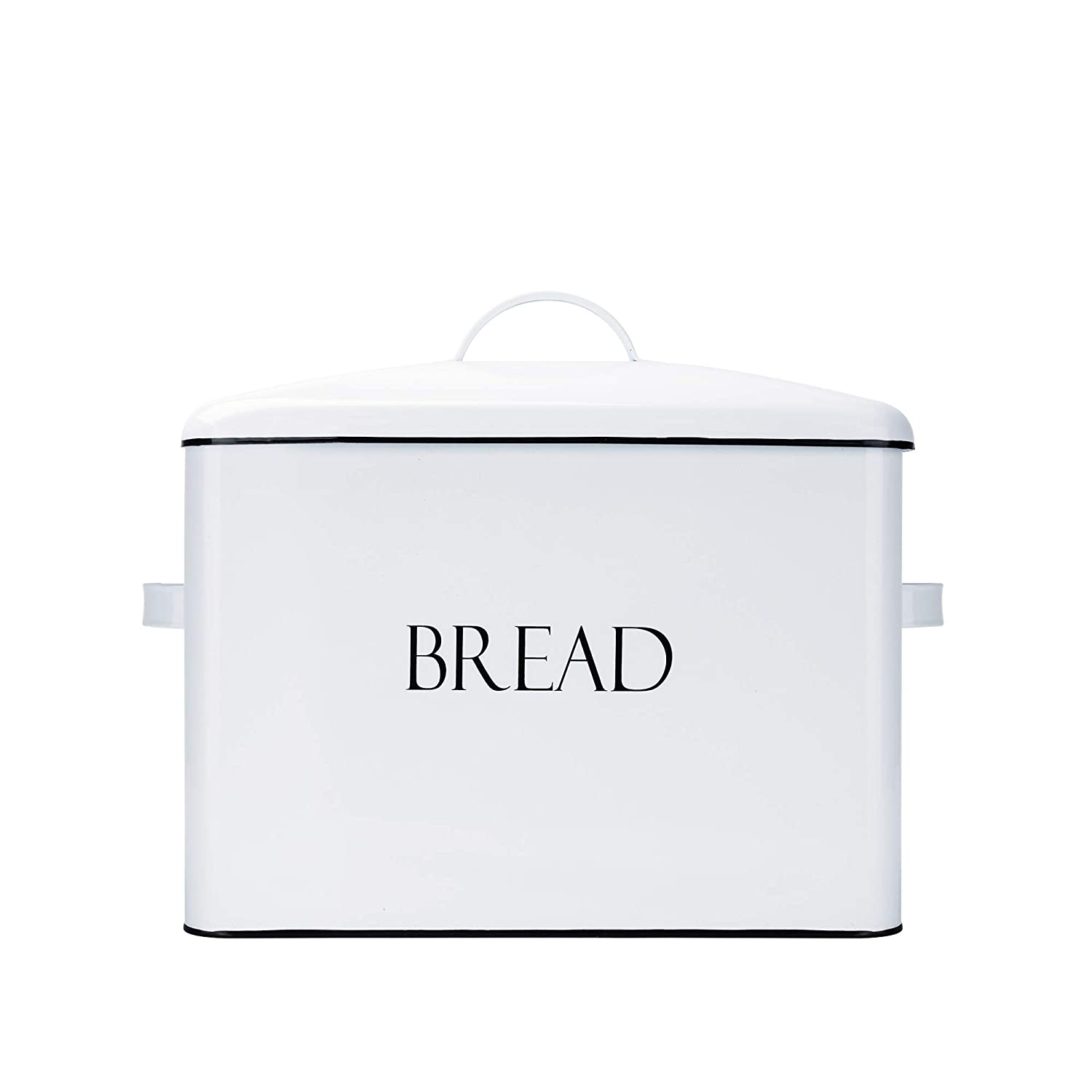 "Vintage Metal Bread Bin - Countertop Space-Saving, Extra Large, High Capacity Bread Storage Box for your Kitchen - Holds 2 Loaves 13"" x 10"" x 7""- White with BREAD Lettering"