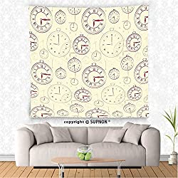 VROSELV custom tapestry Clock Decor Tapestry Vintage Watches with Roman Digits Wallpaper Pattern Decorative Illustration Wall Hanging for Bedroom Living Room Dorm Cream Maroon