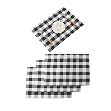 Nobildonna 18 x13  Plaid Checkered Placemats,Black & White Checker, Quality Thin and Durable Placemats for Dining Table Set of 4