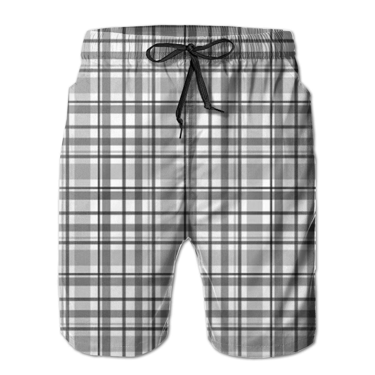 Gray Plaid Swim Shorts Mens Swim Trunks Beach Shorts Board Shorts