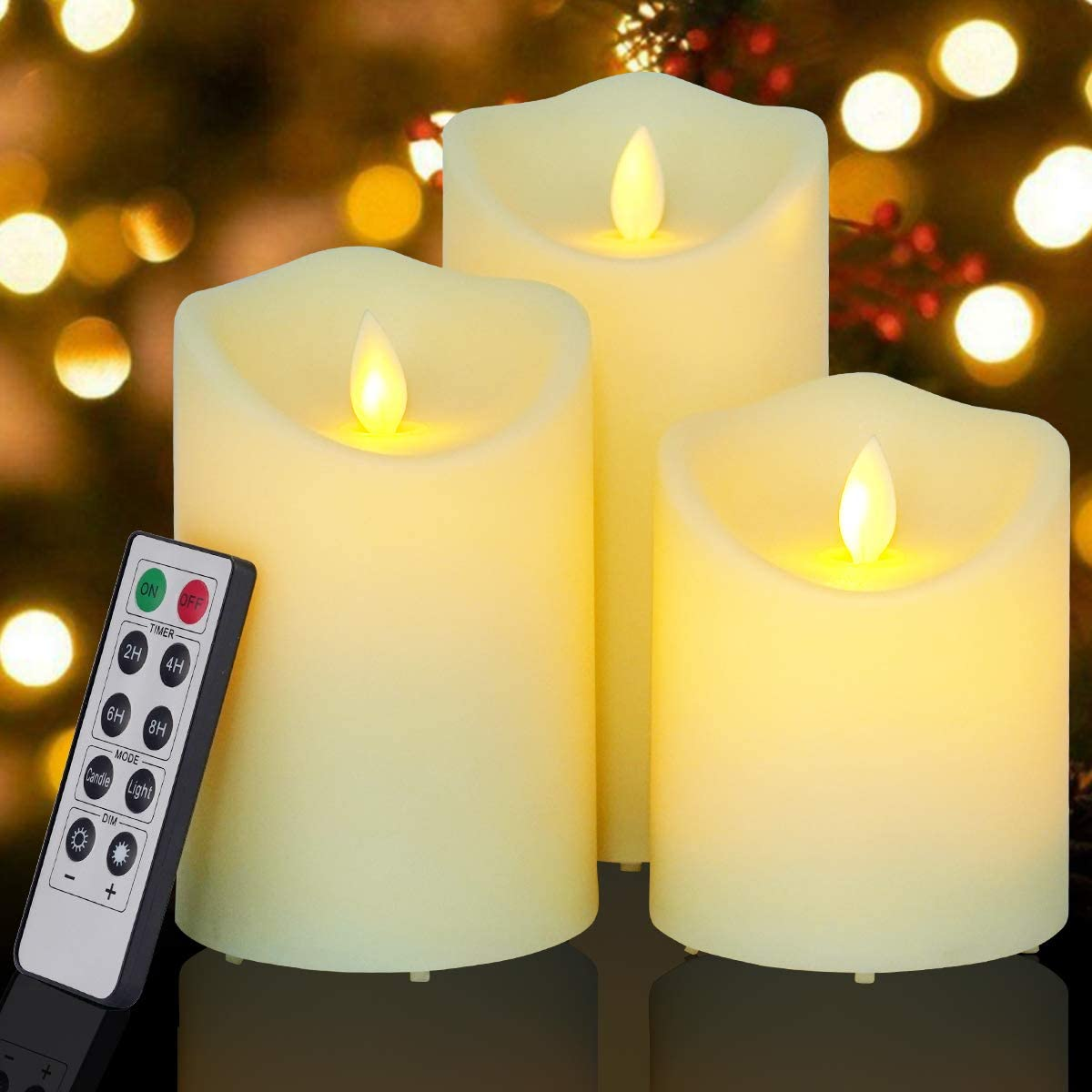 Flickering Flameless Candles Outdoor Waterproof Battery Operated Candle Led Candle Pillar Frosted Plastic Candle Set of 3 Include Realistic Dancing LED Flames and Remote Control D 3.25 x H 4 5 6