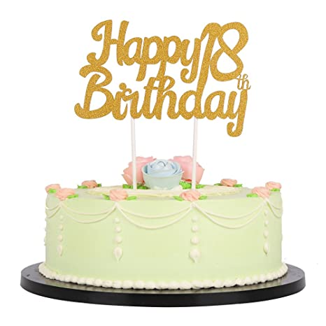 Amazon.com: lxzs-bh purpurina dorada feliz cumpleaños 18th ...