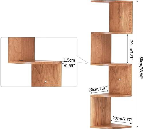 3//5//7 Tier Floating Wall Shelves Corner Shelf Storage Wood Display Decor