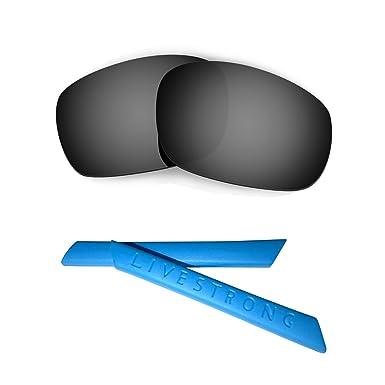 b4116d3af2 HKUCO Black Polarized Replacement Lenses plus Blue Earsocks Rubber Kit For Oakley  Racing Jacket