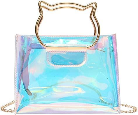 Holographic Clear Jelly Tote Bag Mini Hologram Crossbody Purse For Women With Cute Handle Handbags Amazon Com