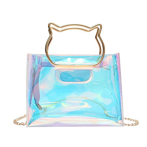 e84d1da0d Holographic Clear Jelly Tote Bag Mini Hologram Crossbody Purse for Women  with Cute Handle: Handbags: Amazon.com