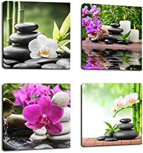Wall Art Zen Canvas Painting SPA Canvas Prints 4 Panels Canvas Art Ready to Hang - Contemporary Pictures Modern Artwork for Bedroom Living Room Bathroom Decoration