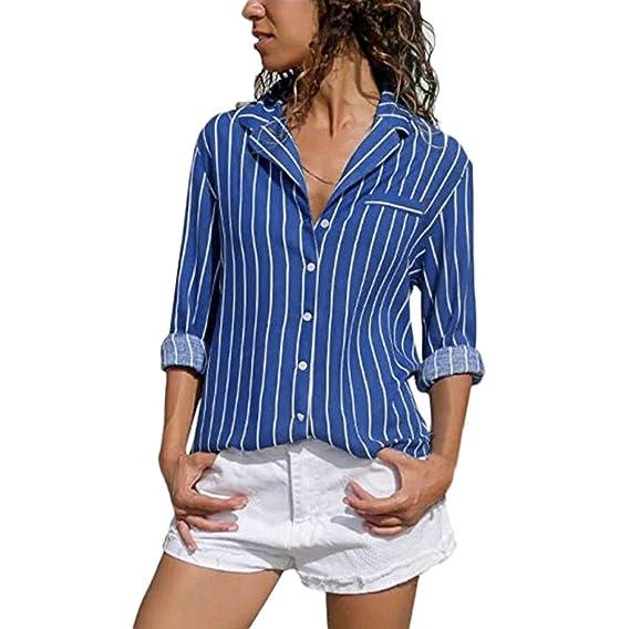 999039ac33d Sunnywill_Camisetas Mujer Tallas Grandes Verano Originales Blusa Mujer  Elegante Manga Largo Algodón Fiesta Camisas T Shirt Women Tops Rayas:  Amazon.es: Ropa ...