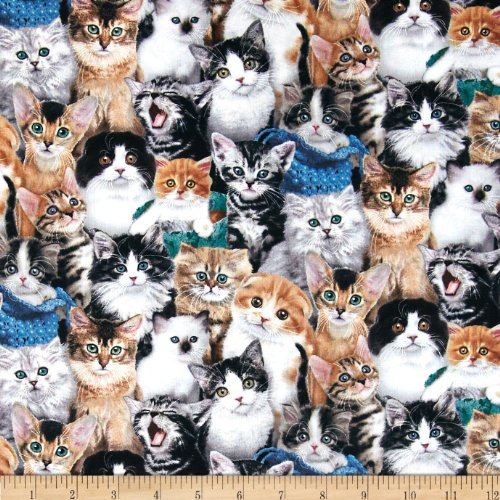 Elizabeth's Studio Breeds Packed Cats Multi Fabric by The Yard, ()