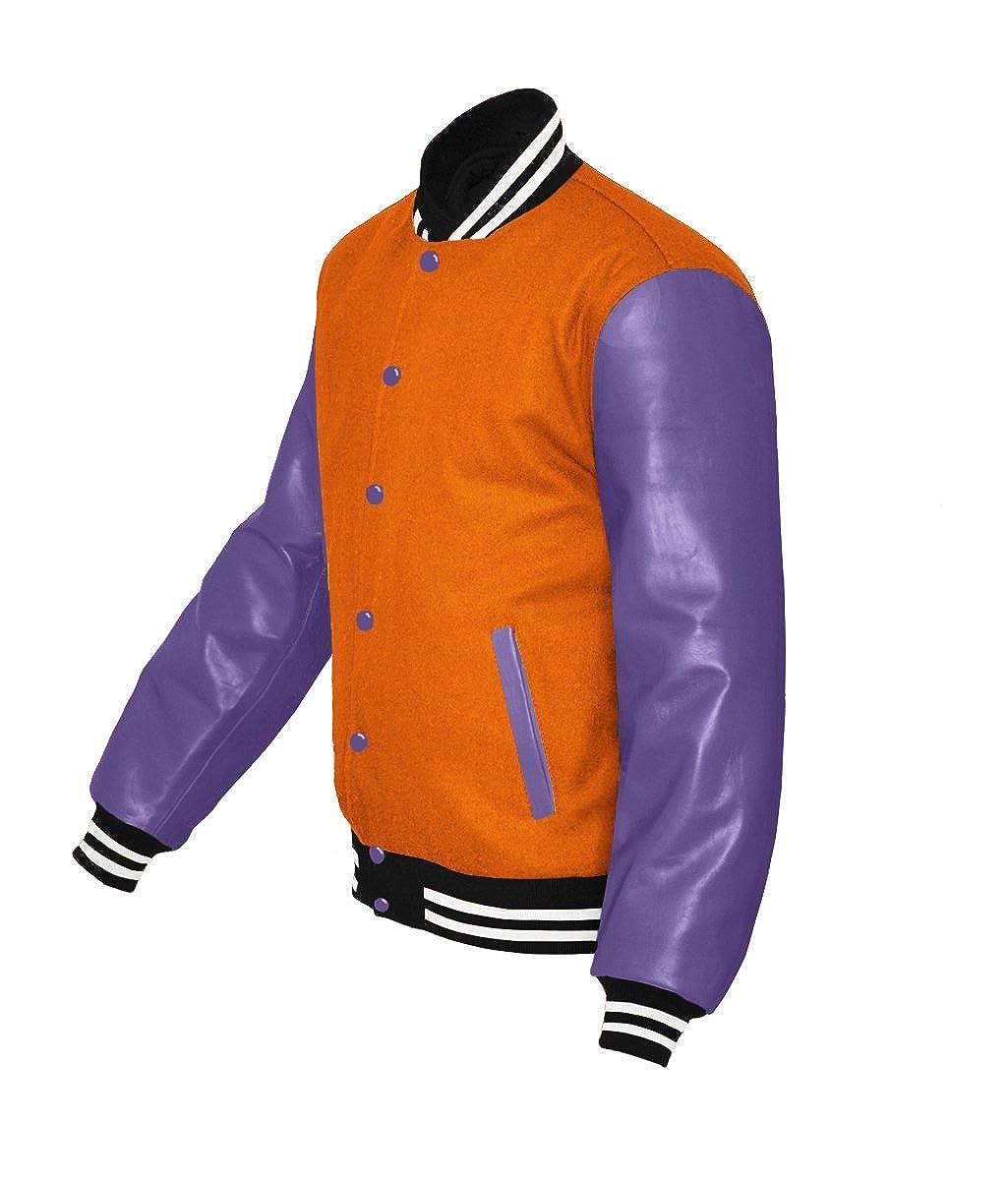 luvsecretlingerie Original American Varsity Real Purple Leather Letterman College Baseball Kid Wool Jackets #P-W-P