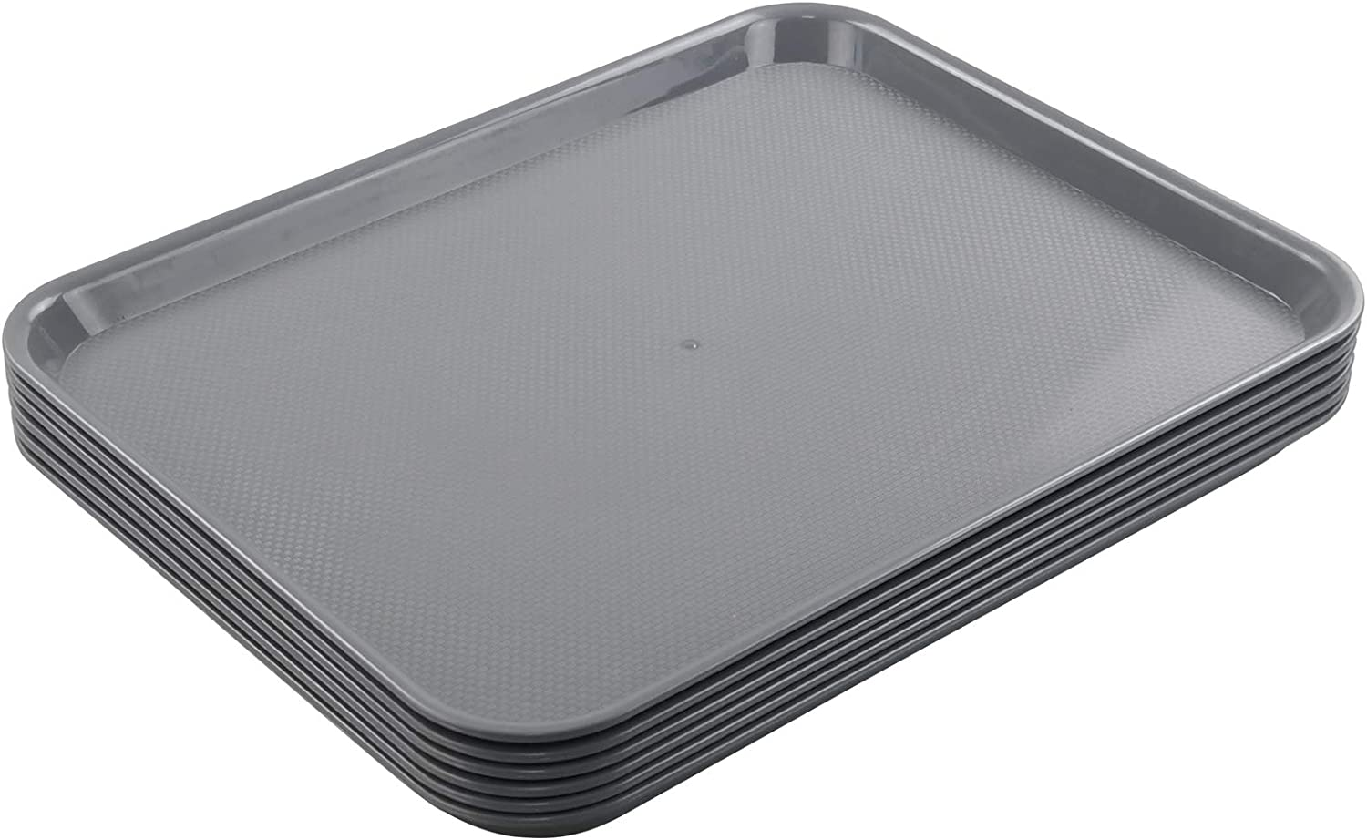 Easymanie Plastic Serving Trays, Grey Food Service Trays, 6 Packs