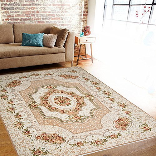 Contemporary Area Rug, Barleyard Rectangular Indoor Carpet with Non-Slip Backing and Soft Thick Fabric (4.27'x 6.24′ )-Beige