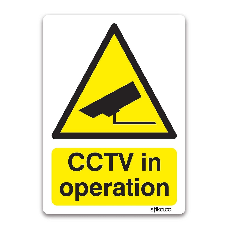 CCTV appareil photo en fonctionnement é tiquettes d'avertissement 10cm x 13cm sur blanc adhé sif vinyl stika.co CCTV100130-WH