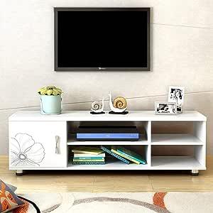 Televisor en blanco y soporte de almacenamiento de medios consola for TV de la sala Centro de Entretenimiento Televisión Inicio Soportes con puertas de los armarios y estantes de almacenamiento abiert: Amazon.es: