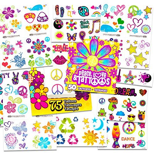 Hippie Temporary Tattoos Party Favor and Costume Set (50 Love and Peace Sign Temporary - Hippie Decade