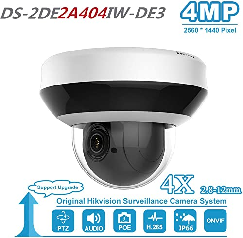 Hikvision 4MP 4X Optical Zoom PTZ IP PoE Dome Security Camera with SD Card Slot Audio Input Output DS-2DE2A404IW-DE3 2.8-12mm 2-inch ONVIF Compatible