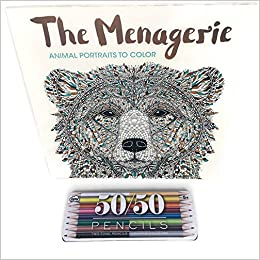 adult therapeutic coloring book the menagerie animal portraits to color bundle 2 items with colored pencils in tin case