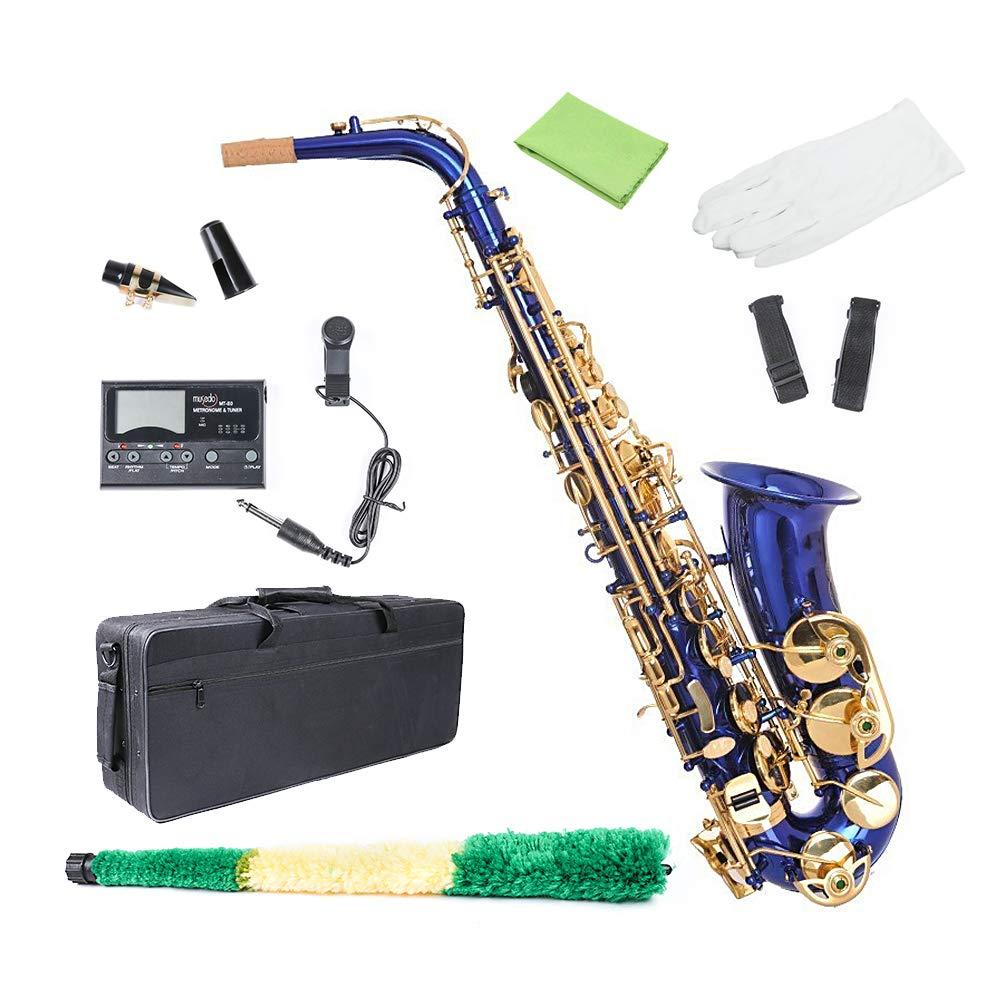 Alto Saxophone Blue, Les Ailes de la Eb Flat Alto Sax for Beginner Adults with Gloves, Cleaning Cloth Rod, Case, Mouthpiece, Carekit, Neck Strap by Les Ailes de la Voix