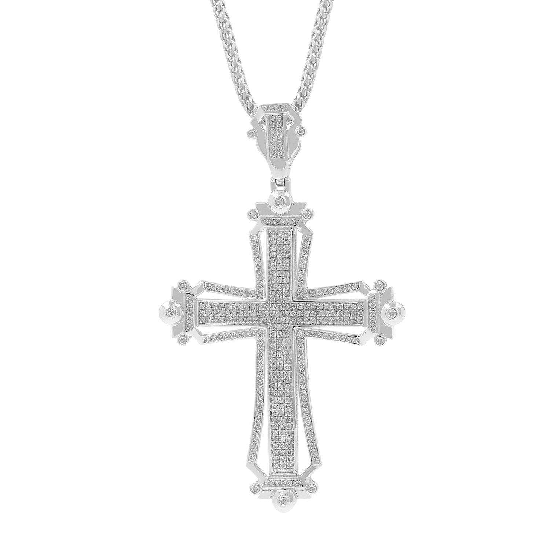 1.28ct Diamond Cross Religious Mens Hip Hop Pendant Necklace in 925 Silver (I-J, I2-I3)
