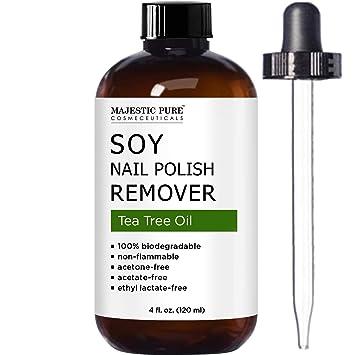Amazon.com : MAJESTIC PURE Soy Nail Polish Remover - Natural Acetone ...