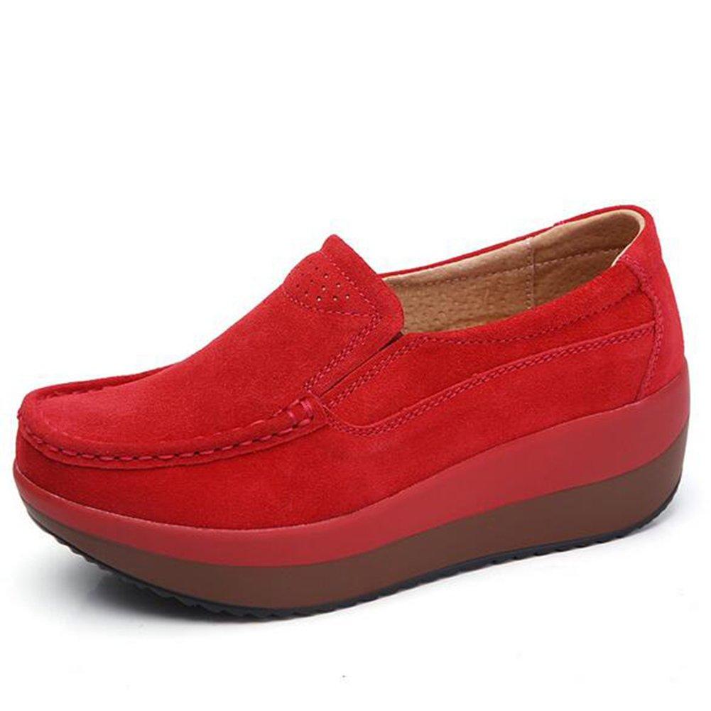 Zapatos Casuales de Las Mujeres Que agitan Zapatillas Casuales de Las Mujeres de la Moda, Señoras Zapatos Ligeros Respirables Suaves Cómodos del Resbalón de Las Señoras (Color : Rojo, Tamaño : 39) 39|Rojo