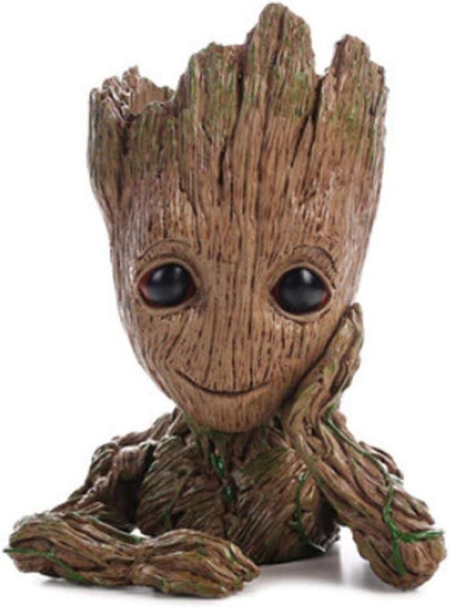 Baby Groot Flower Pot Marvel figura de acción de Guardians of the Galaxy para plantas y plumas Decoración de habitaciones para niños de familia, macetas, regalos para niños (single hand flower pot)