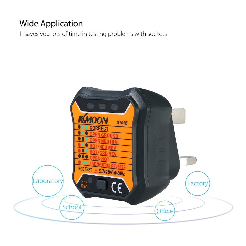 Kkmoon Automatic Electric Socket Tester Neutral Live Earth Wire Wiring A Plug Testing Rcd Test Uk Diy Tools