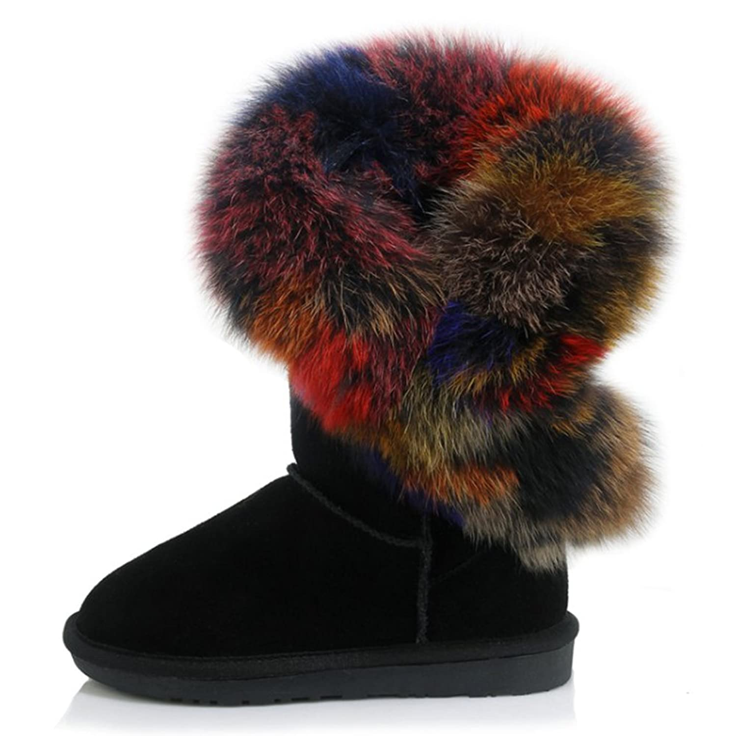 VASHOP Women's Mid Calf Boots Fur Snow Winter Boots Cow Leather Snow Boot