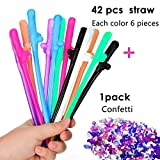 Party Drinking Straws - Party Supplies, 42pcs colorful straws