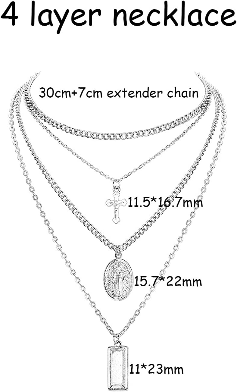 ORAZIO 2PCS Layered Choker Necklaces for Women Girls Tag Coin Cross Crucifix Blessed Virgin Mary Pendant Necklace Chain Silver Tone Gold Tone