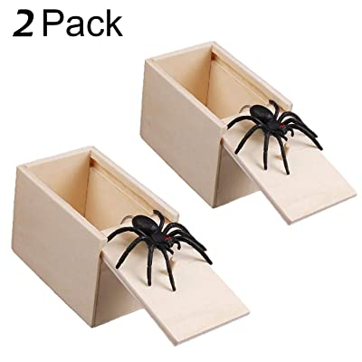 Magwei Spider Prank Scare Box,2 Pieces Handcrafted Wooden Surprise Box, Practical Handmade Toy Prank for Boys, Girls, Adults (2 Pack): Toys & Games