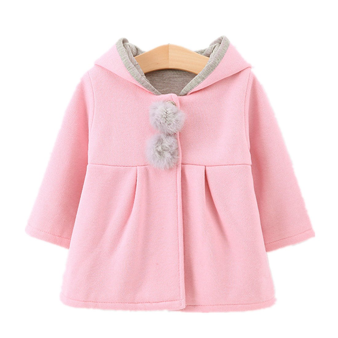 Zerowin Baby Girls Toddler Kids Winter Big Ears Hoodie Jackets Outerwear Coats (10/18-24 months, Pink)