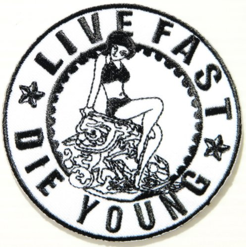 LIVE FAST DIE YOUNG Logo Funny Lady Biker Rider Punk Rock Tatoo Jacket T-shirt Patch Sew Iron on Embroidered Sign Badge Costume -