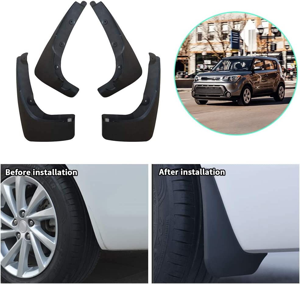 Upgraded Car Mud Flaps Mudguards for KIA Picanto Front Rear Splash Guards Car Fender Styling /& Body Fittings Black 4Pcs