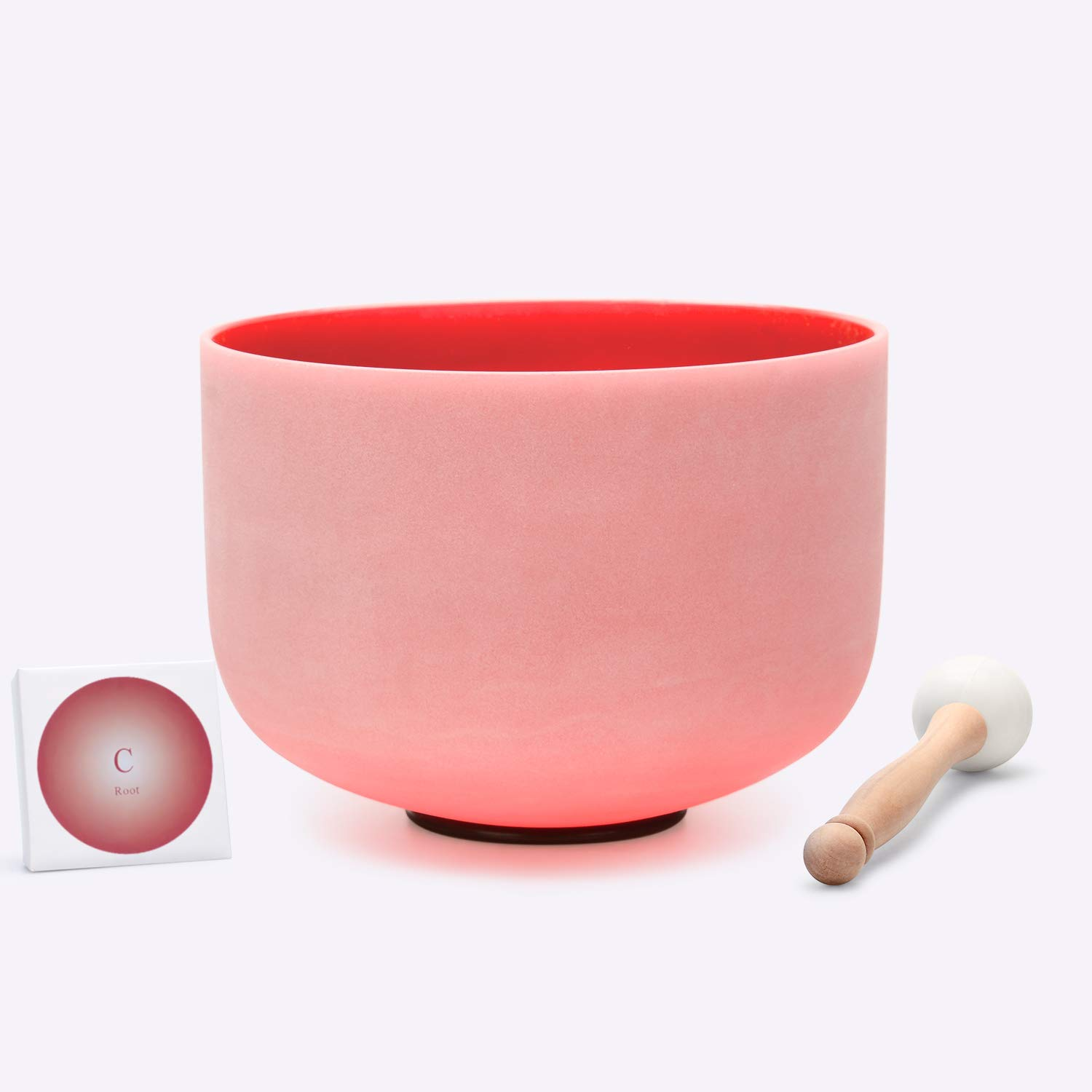 TOPFUND Red Color Quartz Crystal Singing Bowl C Note Root Chakra12 inch O-Ring and Rubber Mallet Included by TOPFUND (Image #1)