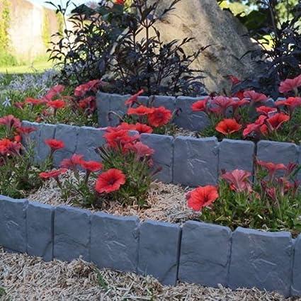 Bordes de jardín de imitación piedra – Lote de 10: Amazon.es: Hogar