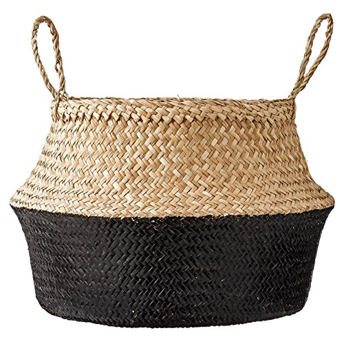 Black Fireplace Basket - Bloomingville Round Natural Seagrass Basket with Handles, 19.5 Inch, Natural & Black